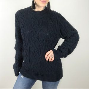 J. CREW MEN'S Cotton Cable Knit Fisherman Sweater